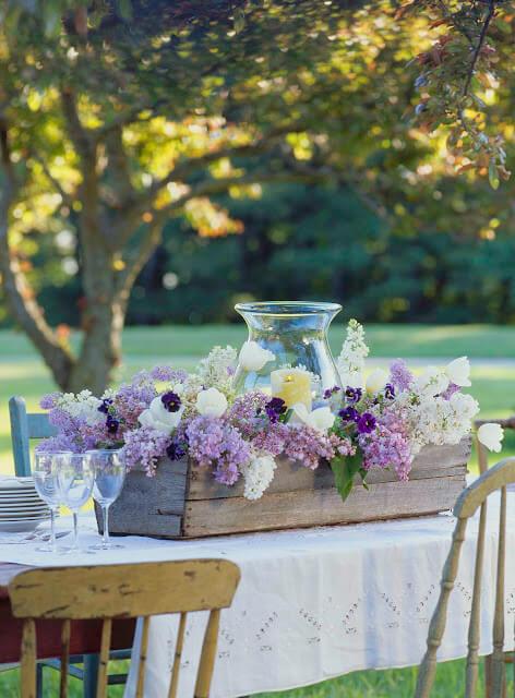 Outdoor Wedding - Rustic Lilac Centerpiece