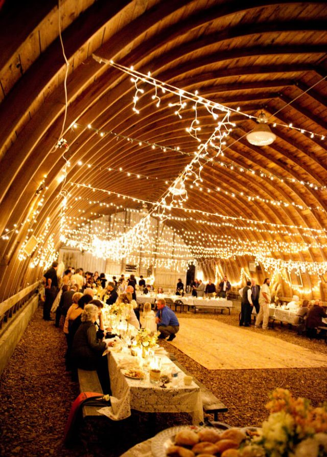 Inside a Rustic Barn Wedding Decorated With Fabulous Ceiling Lights