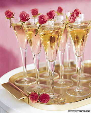 Champagne Glasses garnished with real miniature roses