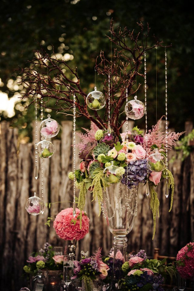 Branches Centerpiece with Hanging Crystals, Hanging Globes, and Flowers