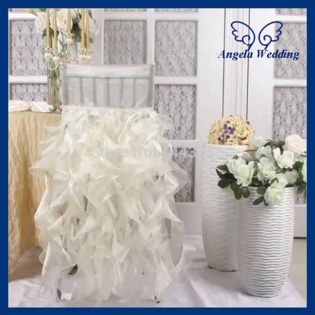 Ruffled wedding chair covers