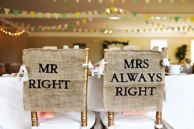 Bride and Groom Chair back decorations