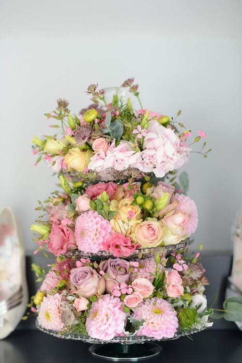 Floral covered cake stand/ wedding cake alternative
