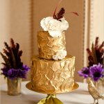 Gorgeous Gold Two Tier Wedding Cake
