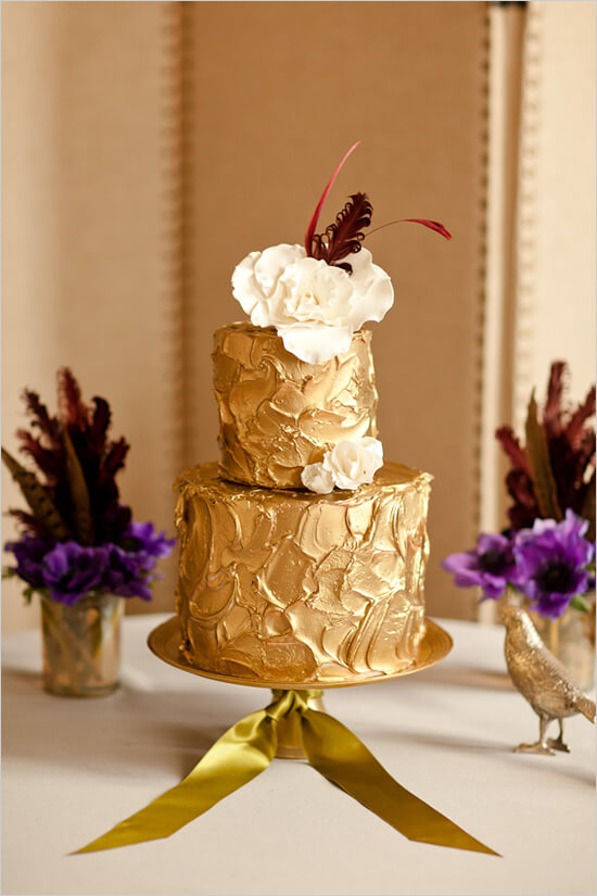 Gold two tier wedding cake.