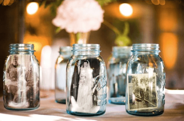 Mason Jars With Family Photos Inside for Wedding Table Decor