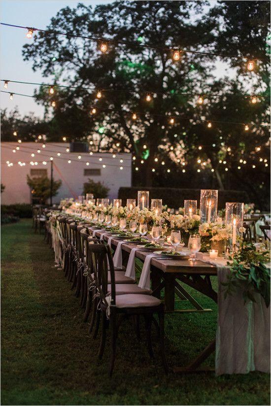Backyard wedding reception with twinkle lights. - Back Yard Wedding Reception