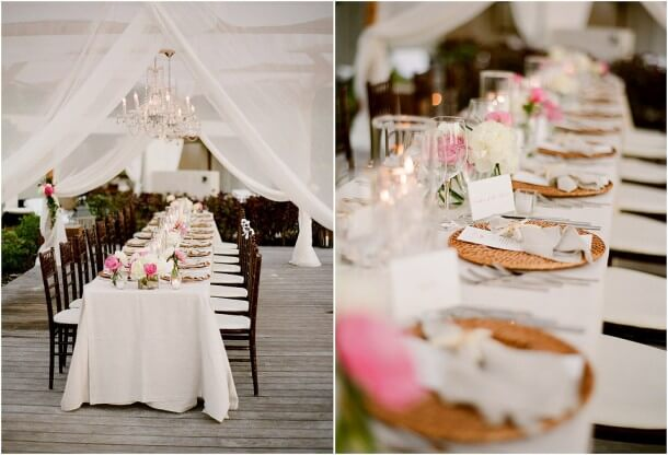 Outdoor reception with seaside theme