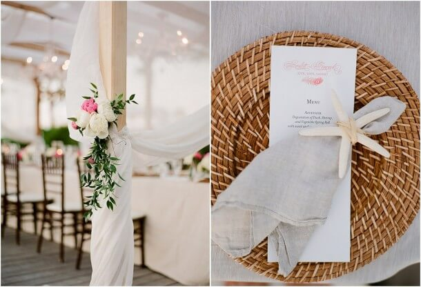Reception details for beach / seaside wedding