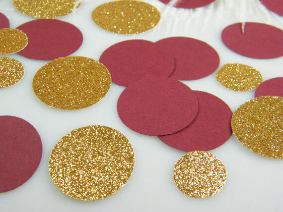 Burgandy and gold wedding table decorations - large paper confettie circles