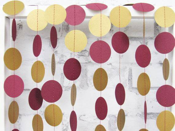 Burgundy and gold paper circles garland