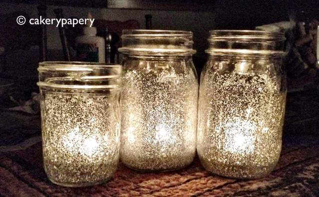 Glittered mason jar candle holders