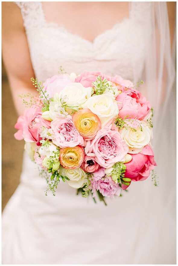 Pink roses and peonies spring wedding bouquet