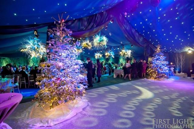 Purple and Blue joliday season wedding color scheme for winter wonderland wedding