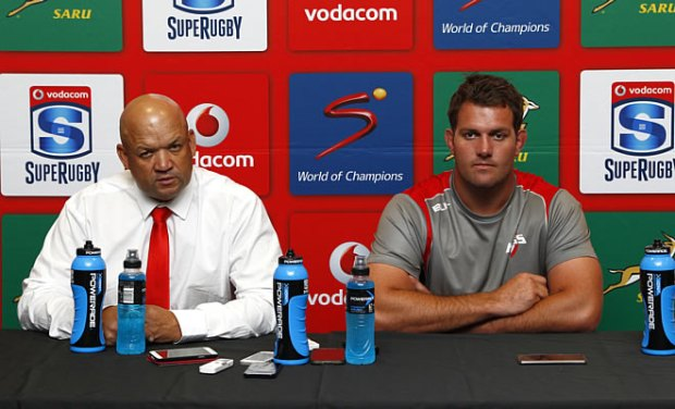 Deon Davids and Steven Sykes face the media