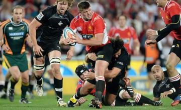 JC Janse van Rensburg protects the ball for the Lions