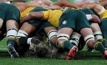 The pitch as AAMI Park in Melbourne tore up in the scrums