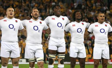 Maro Itoje and his England team mates line up for the anthems