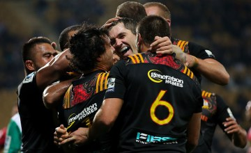 Stephen Donald of the Chiefs celebrates with teammates