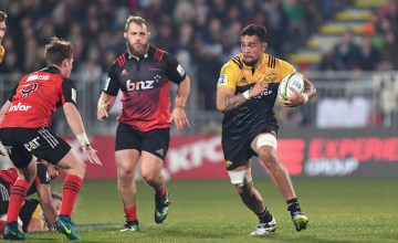 Vaea Fifita of the Hurricanes charges forward during the round 12 Super Rugby match