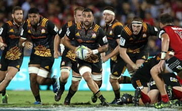 Liam Messam of the Chiefs runs the ball during the round 13 Super Rugby match