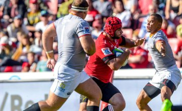Robbie Coetzee of the Lions advancing with possession during the Super Rugby match