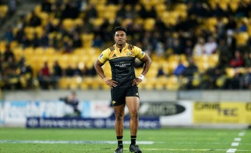 Julian Savea of the Hurricanes looks on during the round 13 Super Rugby match
