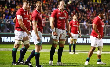 Alun Wyn Jones of the Lions looks on with the team during the match between the New Zealand Provincial Barbarians