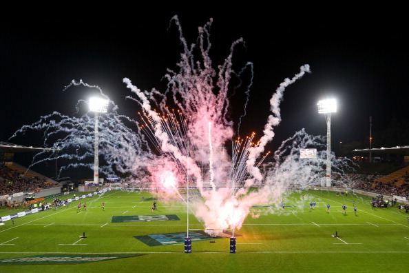 Fireworks light up Yarrow Stadium for a Super rugby match