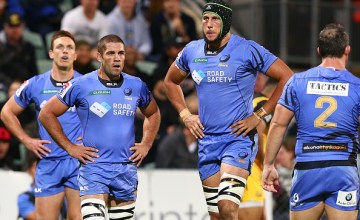 Dane Haylett-Petty, Matt Hodgson and Adam Coleman of the Force look on