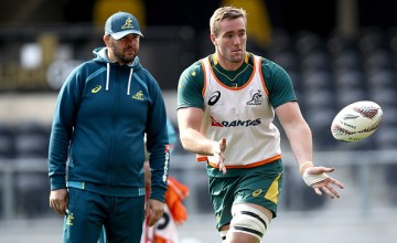 Izack Rodda of the Wallabies passes during an Australia Wallabies Captain's Run