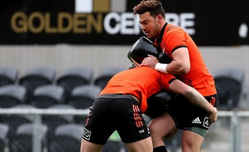David Havili of the All Blacks is tackled during a New Zealand All Blacks Training Session
