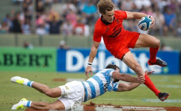 Andries Coetzee of South Africa is tackled by Ramiro Moyano of Argentina during the round two match between Argentina and South Africa as part of The Rugby Championship 2017 at Padre Martearena Stadium on August 26, 2017 in Salta, Argentina. South Africa wore a red commemorative jersey for the 25th anniversary of apartheid.
