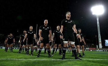 Kieran Read of the All Blacks leads the haka during The Rugby Championship match between the New Zealand All Blacks and Argentina at Yarrow Stadium
