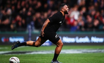 Lima Sopoaga of the All Blacks celebrates after scoring a try during the Rugby Championship
