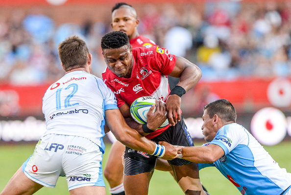 Aphiwe Dyantyi of the Lions during the Super Rugby match between Bulls