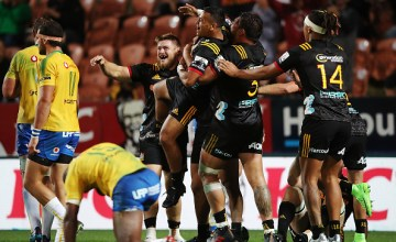 Te Toiroa Tahuriorangi of the Chiefs celebrates after winning the round five Super Rugby match between the Chiefs and the Bulls