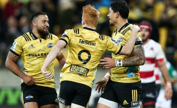 Ben Lam celebrates a hat-trick of Super rugby tries against the Lions