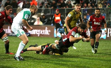 Heiden Bedwell-Curtis of the Crusaders dives over to score a try during the round 15 Super Rugby match between the Crusaders and the Hurricanes at AMI Stadium o