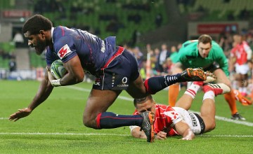 Marika Koroibete of the Rebels scores his second try during the round 15 Super Rugby match between the Rebels and the Sunwolves