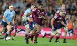 Samu Kerevi on the charge for the Reds in a Super rugby match against the Waratahs