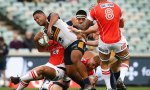 Scott Sio of the Brumbies is tackled during the round 16 Super Rugby match between the Brumbies and the Sunwolves at GIO Stadium Stadium