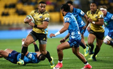 Ngani Laumape of the Hurricanes makes a break during the round 18 Super Rugby match between the Hurricanes and the Blues at Westpac Stadium