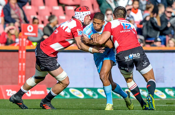 Manie Libbok of the Bulls with ball possession against the Lions during the Super Rugby match between Emirates Lions and Vodacom Bulls at Emirates Airline Park