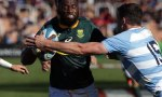 Aphiwe Dyantyi of South Africa evades a tackle from Emiliano Boffelli of Argentina during a match between Argentina and South Africa as part of The Rugby Championship