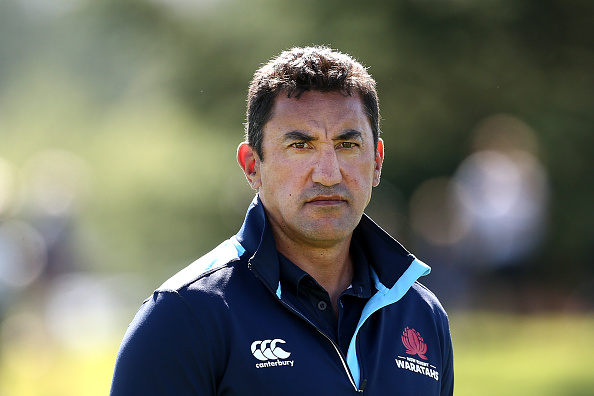 Daryl Gibson, head coach of the Waratahs, looks on prior to the pre-season Super Rugby match