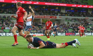 Reece Hodge scored a hat-trick as the Melbourne Rebels thrashed the Sunwolves at AAMI Park, Melbourne