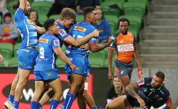 Juarno Augustus celebrates his maiden Super Rugby try as the Stormers beat the Melbourne Rebels