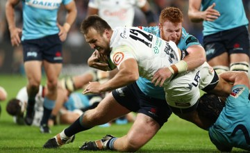 Andre Esterhuizen of the Sharks scored the decisive try of the night in the victory over the Waratahs at Bankwest Stadium, Parramatta