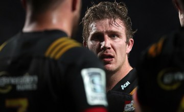 Chiefs Nathan Harris looks on during a Super Rugby match